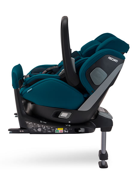 salia elite feature side view with carrier rear facing reboarder recaro kids
